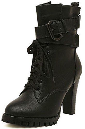 Easemax Women's Sexy Round Toe Belt Buckle Zip Up High Chunky Heel Mid-calf Boots Black vwqreD7AR7