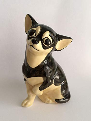 Chi-hua-hua black and tan faience figurine, handmade, porcelain dog figurine