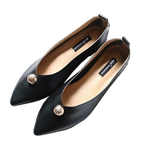 GIY Womens Classic Penny Loafers Rivets Flat Moccasin Pointed Toe Slip-On Casual Dress Loafer Shoes Black JtMlpQGEF