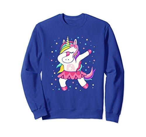 Unisex Dabbing Unicorn Rainbow Dab Teen Sweatshirt Small Royal Blue (Adult Rainbow Sweatshirt)