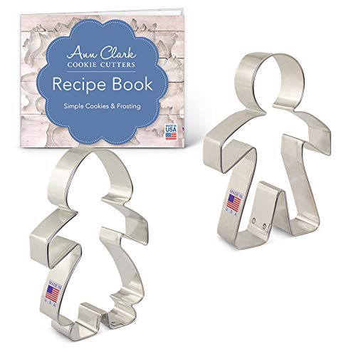 Paper Chain People Cookie Cutter Set with Recipe Booklet - 2 piece - Boy and Girl Cookie Cutters - Ann Clark - USA Made Steel