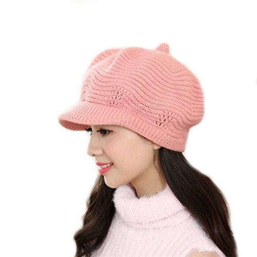 Elaco Autumn&Winter Beanies Knit Hats For Women Fur Warm Beaded Pearl Ladies Beret Bonnets (pink)