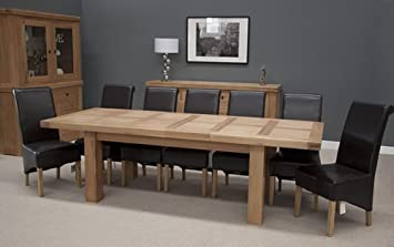 Homestyle GB Bordeaux Oak Large Extending Dining Table 10/12 Seater