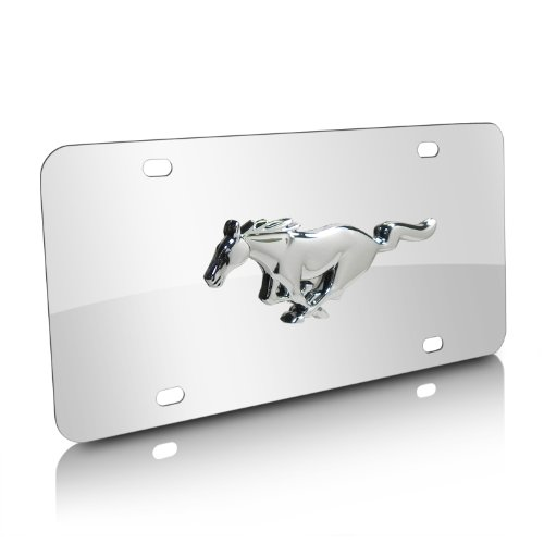 (CarBeyondStore Ford Mustang 3D Pony Chrome Stainless Steel License Plate)