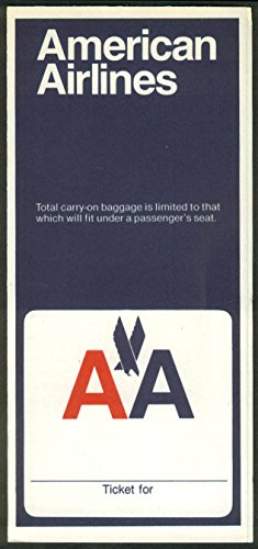 American Airlines airline ticket wrapper wallet unused 10 1978 carry-on limited