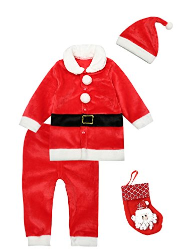 Christmas Costume Baby Boys Girls Santa Claus Outfit Set Shirt Pants with Hat and Candy Sock (12-18 Months)