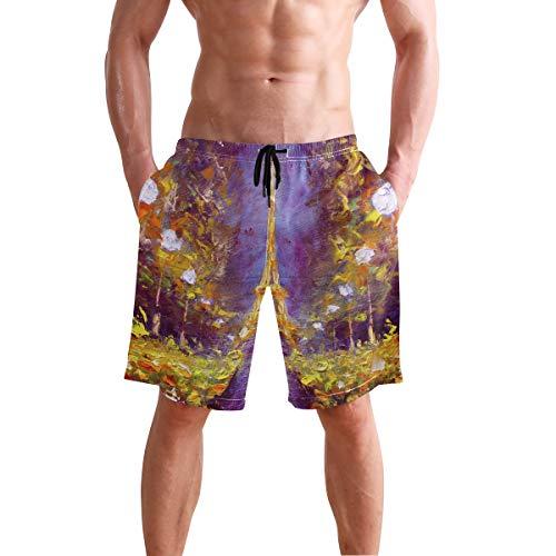Paris Short - AUUXVA BETTKEN Men's Beach Shorts Watercolor Abstract Paris Eiffel Tower Swim Trunks Beachwear Quick Dry Summer Casual Sport Board Shorts Swimwear Bathing Suits