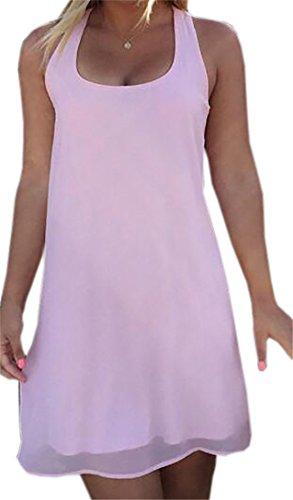Womens Comfy Dress Tank Mini Shift Bowknot Sleeveless Sundress Domple Pink Chiffon wqUFy