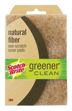 3M Scotch-Brite 97223 Greener Clean Natural Fiber Non-Scratch Scour Pad, 2-Pack (Pack of 12) by Scotch-Brite
