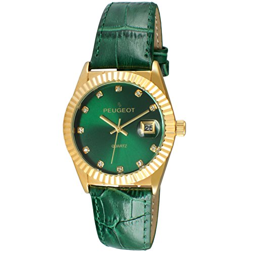 Peugeot Women's 14K Gold Plated Coin Edge Bezel Green Leather Band Dress Watch 3045GR (14k Gold Watch Leather Strap)