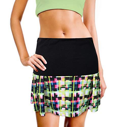 (XrSzChic Womens Tennis Golf Skirt Athletic Exercise Printed Skorts Short Pocket)