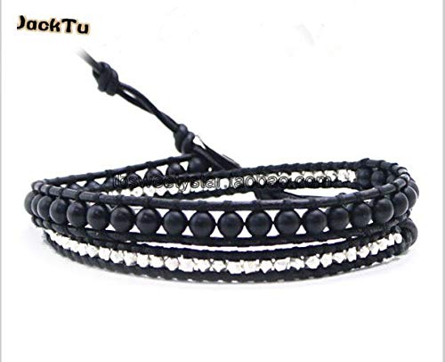 Silver Nuggets Mix Matte Onyx On Black Leather Bracelets | for Men and - Mix Nugget