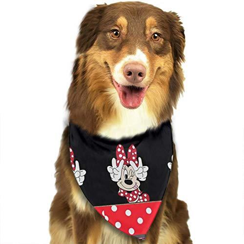 Pet Dog Bandanas,Minnie Mouse with Victory Sign Printing Dog Kerchief,Triangle Head Scarfs Accessories for Small to Large Dogs Cats Pets - 27.5 X 18 Inch]()