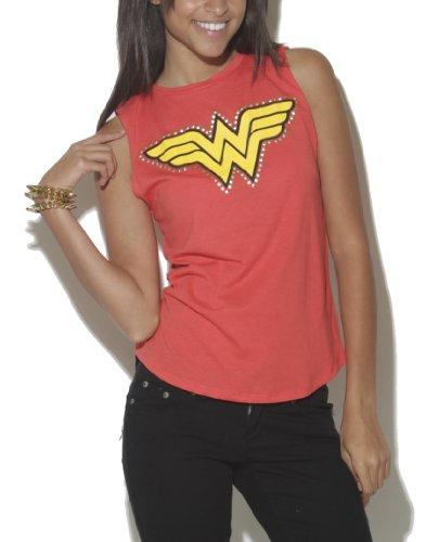 Wet Seal Women's Studded Wonder Woman Muscle Tank M Red