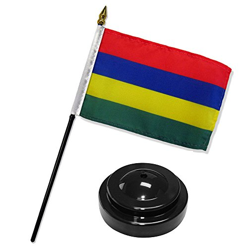 Cardinal Desk Lamp - ALBATROS Mauritius 4 inch x 6 inch Flag Desk Set Table Stick with Black Base for Home and Parades, Official Party, All Weather Indoors Outdoors
