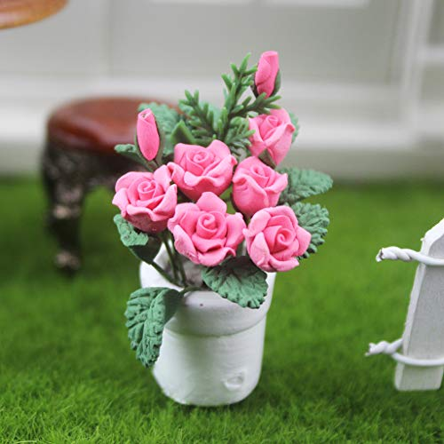 m·kvfa 1:12 /1:6 Dollhouse Miniature Scene Model Hanging Potted Rose Pretend Play Toy Doll House Accessory Creative Birthday Handcraft Gift for Kids from *m·kvfa* Dollhouse