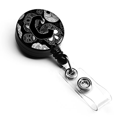 Skull Badge (Caroline's Treasures Letter C Day of the Dead Skulls Black Retractable Badge Reel, Multicolor (CJ2008-CBR))