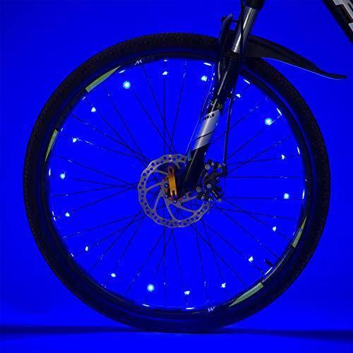 Tyre Light Wheel - Bike Spoke LED Lights, Bike Wheel Light,Tyre Wire Right with Batteries,Brighter and Visible Bike Safety Alarm Light (Blue)