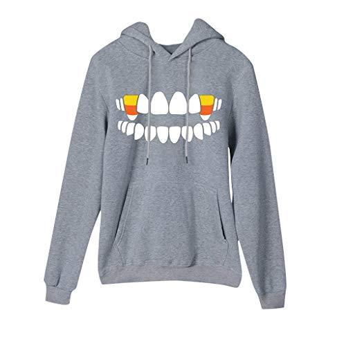 Xinantime Women Halloween Hooded Sweatshirt Candy Print Long Sleeves Pullover Hooded Sweatshirt Blouse Tops Gray