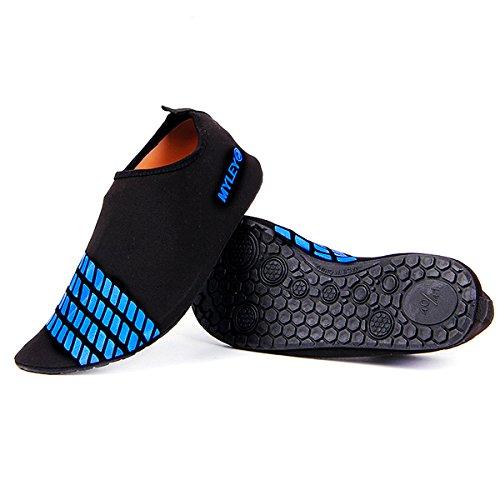 Sasairy Summer Unisex Wading Shoes Swim Women Non-slip Barefoot Water Skin Shoes Stripe Aqua Socks Beach Pool Surfing Water Sports Sock for Outdoor Running Fitness Blue tPzlTpHnLR