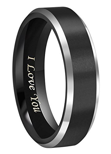 CROWNAL 6mm Black Tungsten Couple Wedding Bands Rings Men Women Polished Beveled Edges Matte Brushed Finish Engraved I Love You Size 3.5 To 17 - Band Beveled Polished