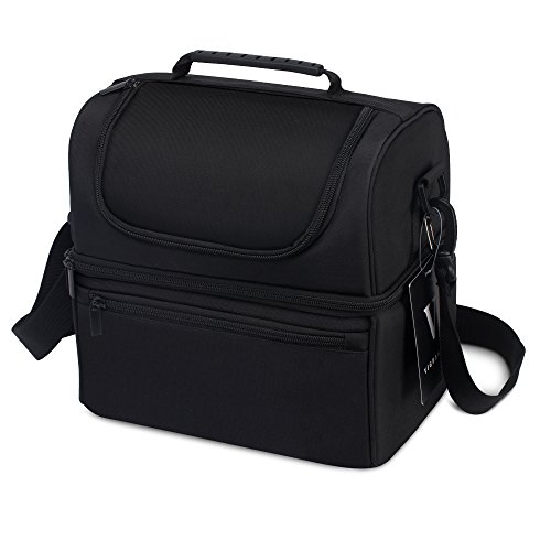 VIGBAGNIA Lunch Box FDA Insulated 2 Compartments Cooler Tote Bag Double Deck(Black) Double Handle Tote Bag