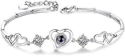 レディース ブレスレット 100か国の言葉で「愛してる」 腕輪 ジュエリー アクセサリー 合金 誕生日 記念日 告白 愛を伝える