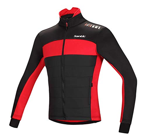 Santic Men's Cycling Jacket Winter Coat Windproof Thermal Long Jersey Red 2X-Large (US XL)
