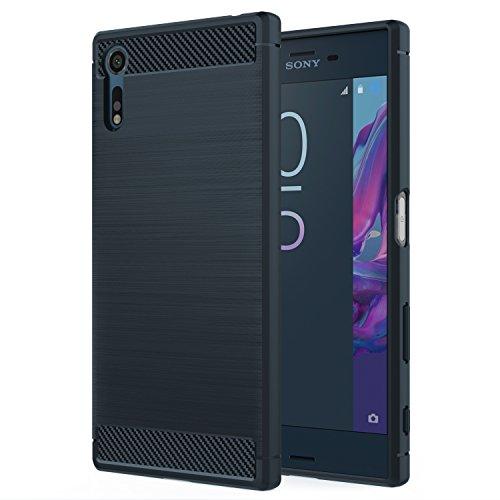 MoKo Sony Xperia XZ/XZs Case, Flexible TPU Bumper Slim Fit Case Carbon Fiber Design Lightweight Shockproof Back Cover for Sony Xperia XZ (2016) / XZs (2017) 5.2 Inch, Indigo