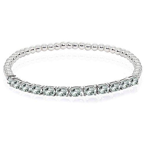 Aquamarine Silver Beaded Bracelets - Sterling Silver Light Aquamarine Oval Beaded Stretch Tennis Style Bracelet