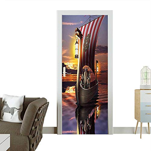 Modern Art Door Sticker Warrior with Sword and Helmet in Ship Evening Twilight Barbarian Nordic Scandinavian Print Environmentally Friendly decorationW38.5 x H77 INCH