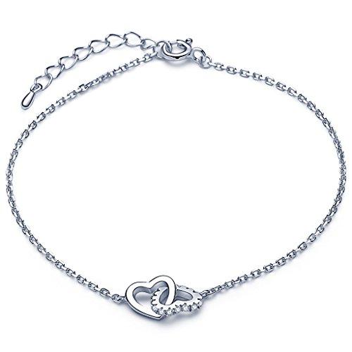 Infinite U Classic Interlocking Hearts Women's Bracelet 925 Sterling Silver Cubic Zirconia Adjustable Link Chain Extension, (Interlocking Hearts Bracelet)