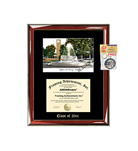 California State University Fresno Graduation Custom Frame Emboss Lithograph Diploma Degree Framing Embossed Bachelor MBA Master PHD Certificate Framing (College Lithograph)
