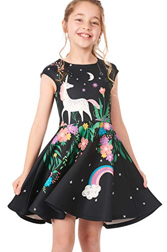 (Truly Me, Little and Big Girls' Skater Scuba Dress with One-of-A-Kind Unicorn Star Theme Artwork and Rhinestone Embellishments, Size 4-10 (Black Multi, 5))