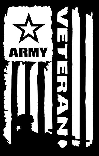 Vinyl Graphics Army Veteran Flag with Soldier Sticker