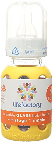 Lifefactory 4-Ounce BPA-Free Glass Baby Bottle with Protective Silicone Sleeve and Stage 1 Nipple, Yellow