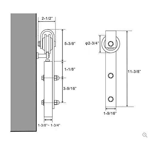 WINSOON 16FT Antique Double Sliding Barn Door Hardware Roller Track Kit Black, 4-18FT for Choose by WINSOON (Image #4)