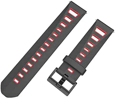 Replacement Strap for HUAMI AMAZFIT Youth 22 MM,Tonsee Two-Color Leaning Tower Ventilate Watch Band,Lightweight and Soft Silicone Waych Strap
