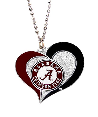 NCAA Alabama Crimson Tide Swirl Heart Necklace Charm Gift Set by aminco