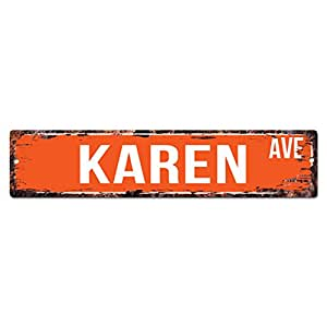Karen ave street sign chic rustic street plate for Bar decor amazon