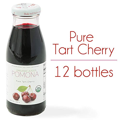 POMONA Pure Tart Cherry Juice, 8.4 Ounce Bottle (Pack of 12), Cold Pressed Organic Juice, Non-GMO, No Sugar Added, Not from Concentrate, Gluten Free, Kosher Certified, Preservative Free ()