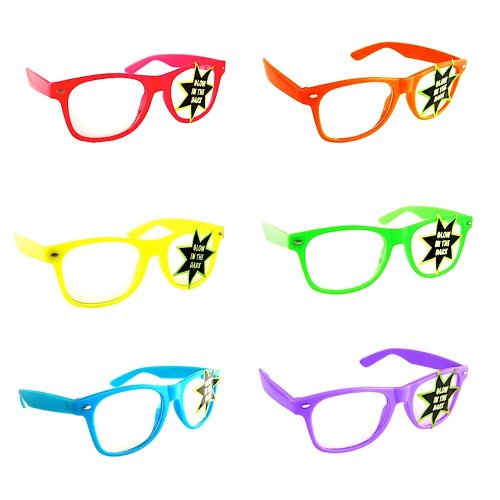 7e9fed39e45 Lot of 6 Nerd Glasses Buddy Holly Wayfarer Clear Lenses (Multi Color Frames  Glow in the Dark) - Buy Online in UAE.