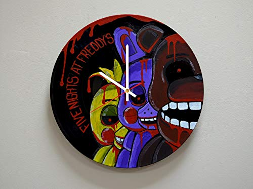 Handmade Five Night at Freddy's Design HANDPAINTED Vinyl Record Wall Clock - Get Unique Rest Room Wall Decor - Gift Ideas For His and Her - Unique Modern Fan Art (Chica Five Nights At Freddys Fan Art)