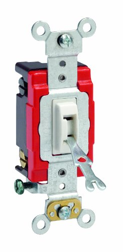 UPC 078477365625, Leviton 1224-2WL 20 Amp, 120/277 Volt, Toggle Locking 4-Way AC Quiet Switch, Extra Heavy Duty Grade, Self Grounding, Back and Side Wired, White
