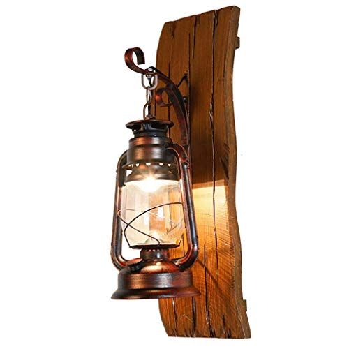 (LQUIDE Wall Lamps for Living roomAmerican Village Solid Wood Iron Kerosene lamp Lantern Creative Wooden Lights Sculpture The Mediterranean Antique Wall lamp E27 Adjustable Hanging Wall lamp LED)