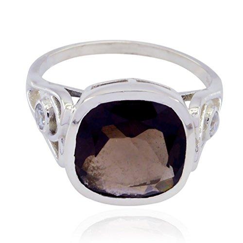 (RGPL-Genuine Gems Square Faceted Smokey Quartz Rings - 925 Sterling Silver Brown Smokey Quartz Genuine Gems Ring - Nice Jewelry Gift for Wedding raw Gemstone Ring)