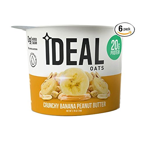 Ideal Oats Protein Oatmeal To-Go, Crunchy Peanut Butter Banana (6 Pack) - 20g Protein, 40g Whole Grains, 6g Sugar