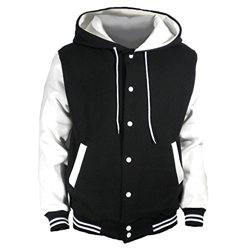 U World Men's Hood Baseball Varsity Jacket White (M) -