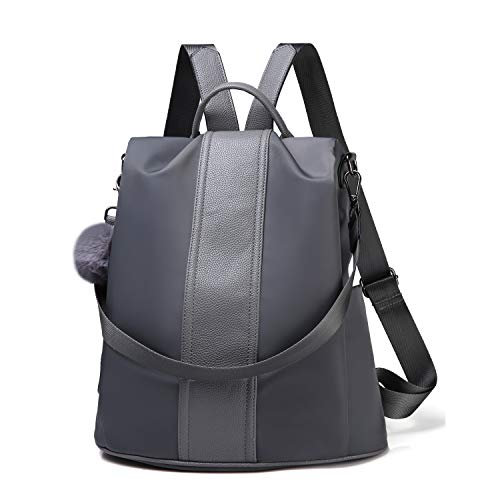 (Women Backpack Purse Waterproof Nylon Anti-theft Rucksack Lightweight Shoulder Bag (Gray Large))