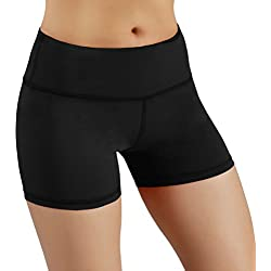 ODODOS Power Flex Yoga Shorts Women Tummy Control Workout Running Shorts Pants Yoga Shorts Hidden Pocket, Black, Medium